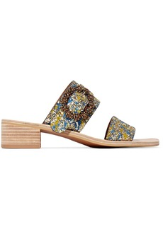 See by Chloé Crystal-embellished glittered leather sandals