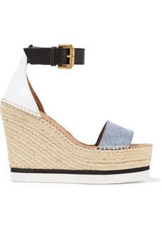 See by Chloé Denim And Leather Espadrille Wedge Sandals