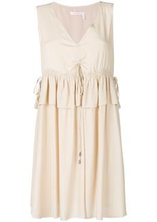 See By Chloé drawstring-detail peplum dress - Nude & Neutrals