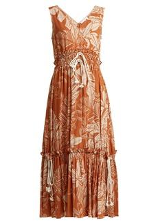 See By Chloé Drawstring-waist jungle-print cotton-blend dress