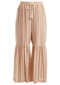 See By Chloé Drawstring-waist striped wide-leg trousers