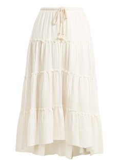 See By Chloé Drawstring-waist tiered cotton skirt