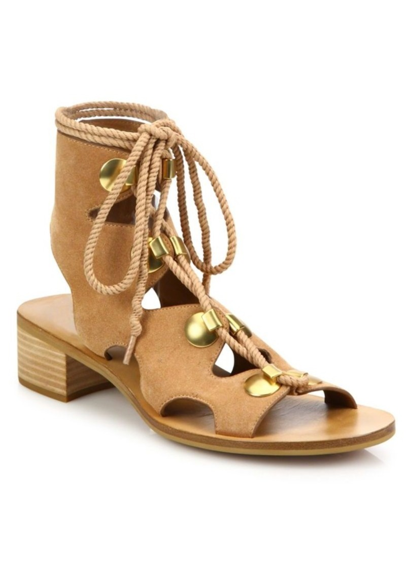See by Chloé Edna Cutout Suede Lace-Up Sandals