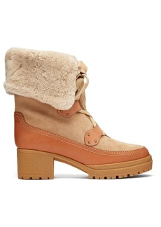 See By Chloé Eileen lace-up shearling and suede boots
