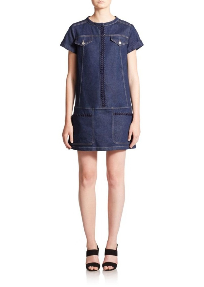 See by Chloé Embellished Denim Shift Dress