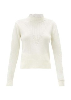 See By Chloé Embroidered-collar ribbed V-panel sweater