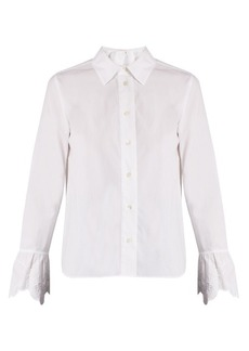 See By Chloé Embroidered-cuff cotton-poplin shirt