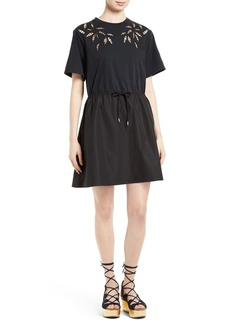 See by Chloé Embroidered Cutout T-Shirt Dress