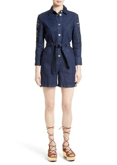 See by Chloé Embroidered Denim Romper (Nordstrom Exclusive)