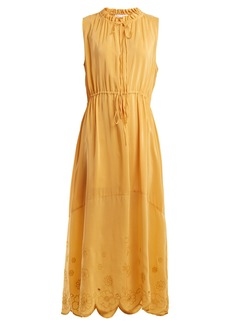 See By Chloé Embroidered drawstring chiffon dress