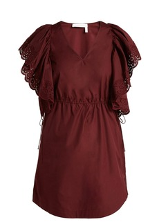 See By Chloé Embroidered sleeve Poplin day dress