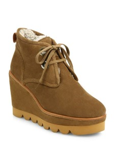 See by Chloé Ethel Suede & Sheepskin Lace-Up Wedge Booties