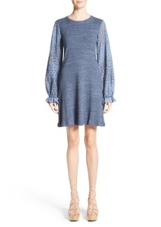 See by Chloé Eyelet Bell Sleeve Dress