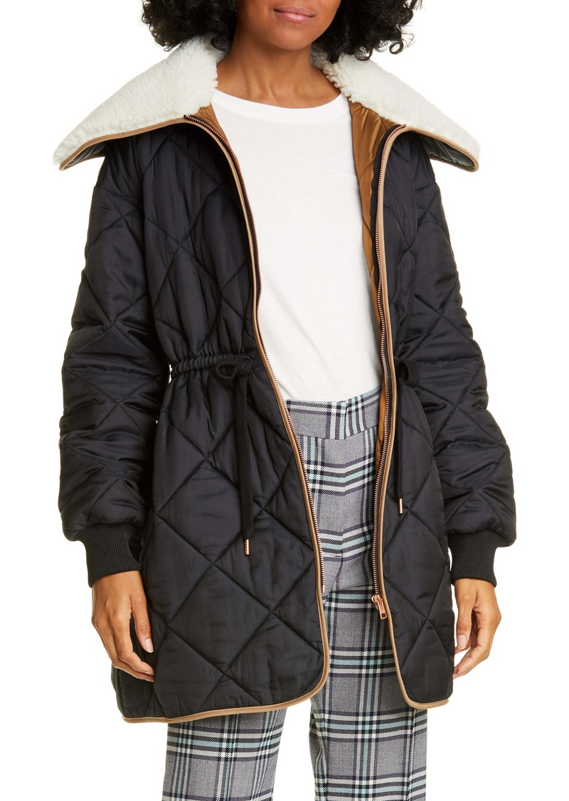 See by Chloé Fleece Collar Quilted Coat