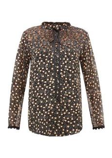 See By Chloé Flocked polka-dot silk-chiffon blouse