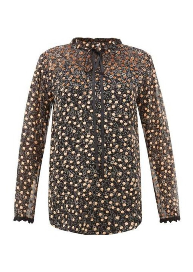 See By Chloé Flocked polka-dot silk-chiffon blouse