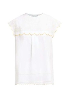 See By Chloé Floral-embroidered cotton blouse