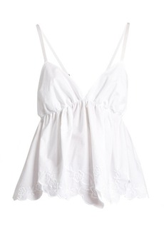 See By Chloé Floral-embroidered cotton-poplin cami top