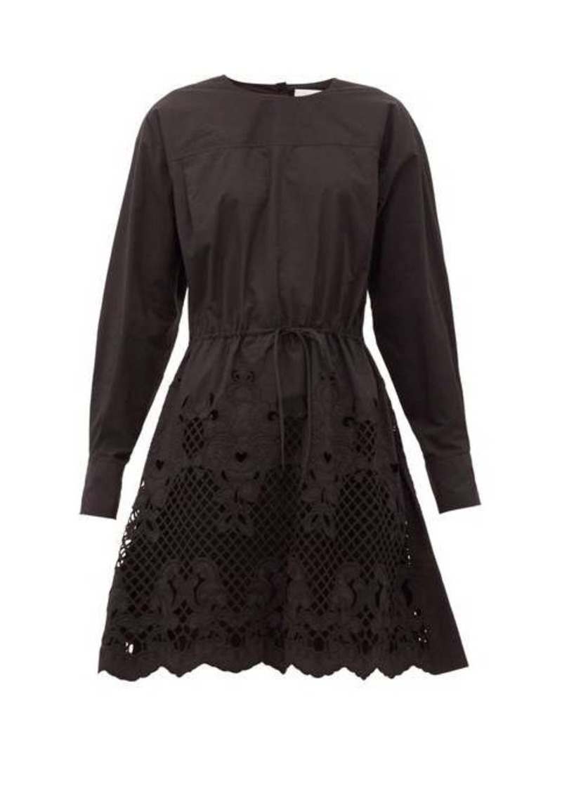 See By Chloé Floral-embroidered cotton-poplin mini dress
