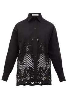 See By Chloé Floral-embroidered cotton-poplin shirt