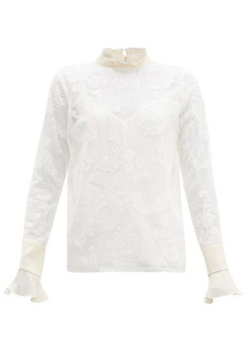 See By Chloé Floral-embroidered high-neck mesh blouse