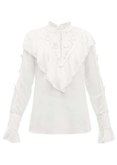See By Chloé Floral-embroidered ruffled crepe blouse