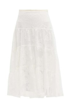 See By Chloé Floral-embroidered tiered mesh skirt