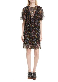 See by Chloé Floral Fil Coupé Silk Dress