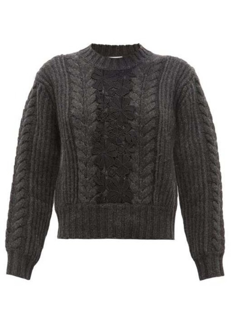 See By Chloé Floral lace insert wool-blend sweater