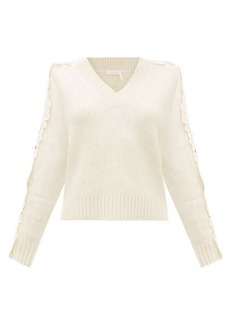 See By Chloé Floral lace sleeve insert wool-blend sweater
