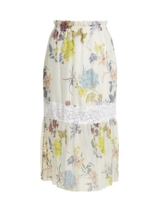 See By Chloé Floral paper-bag midi skirt