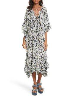 See by Chloé Floral Print Flutter Edge Dress