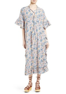 See by Chloé Floral Print Lace-Up Caftan