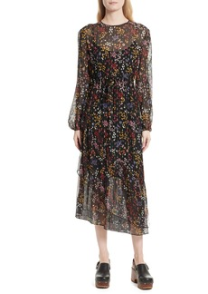 See by Chloé Floral Print Metallic Silk Midi Dress