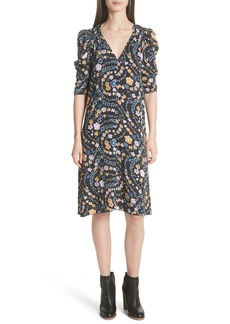 See by Chloé Floral Print Ruched Sleeve Dress