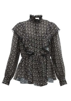 See By Chloé Floral-print ruffled crepe blouse