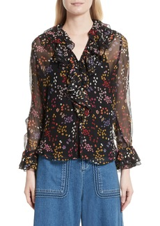 See by Chloé Floral Silk Blouse