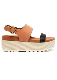 See By Chloé Flower-buckle leather flatform sandals