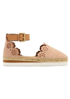 See By Chloé Flower laser-cut suede espadrilles