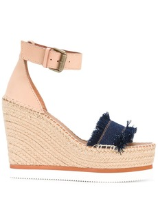 See By Chloé frayed wedged sandals - Blue