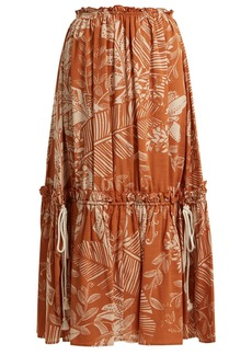 See By Chloé Frill-trimmed jungle-print cotton-blend skirt
