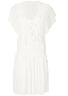 See By Chloé frilled drop waist mini dress - Nude & Neutrals