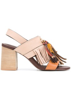 See By Chloé fringed slingback sandals - Nude & Neutrals
