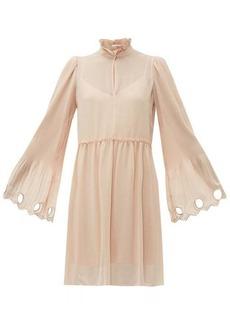 See By Chloé Gathered plissé georgette dress