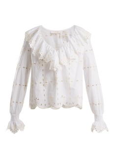 See By Chloé Geometric floral-embroidered cotton top