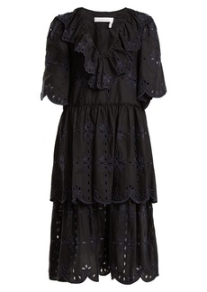 See By Chloé Geometric floral-embroidery cotton dress