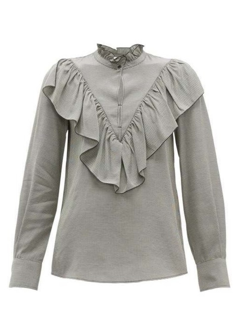 See By Chloé Gingham ruffled crepe blouse