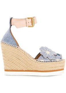 See By Chloé Glyn floral wedge espadrilles - Blue