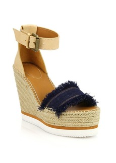 See by Chloé Glyn Leather & Frayed Canvas Espadrille Wedge Platform Sandals