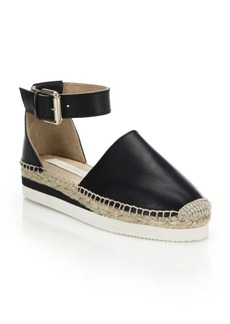 See by Chloé Glyn Leather Flatform Espadrilles